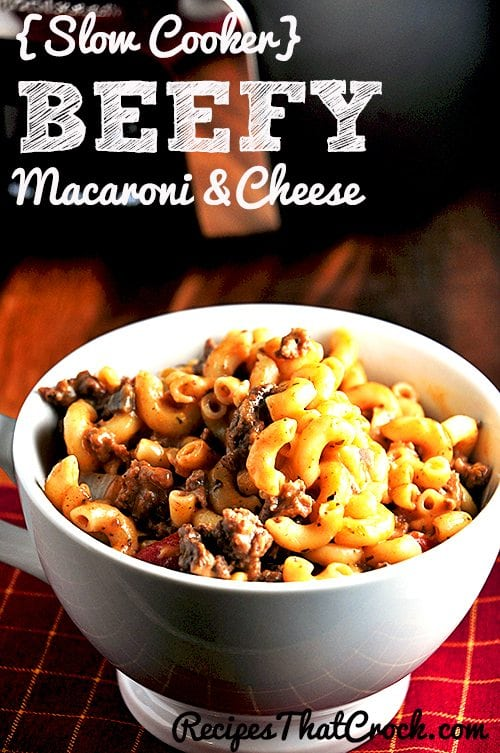 Beefy Mac and Cheese Slow Cooker