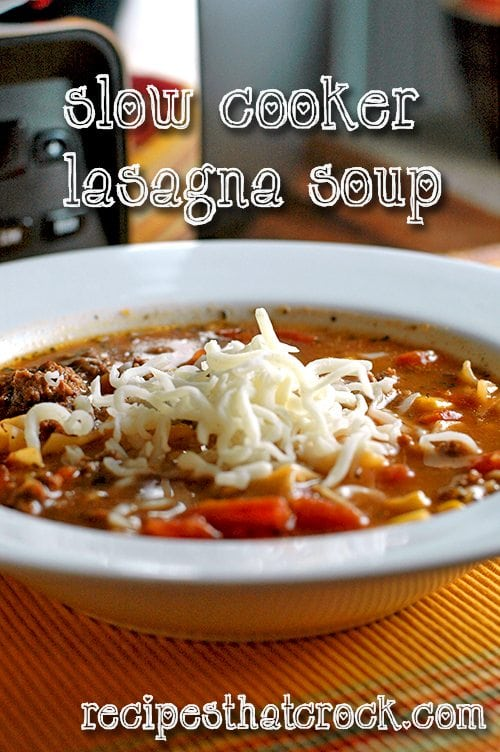 Slow Cooker Lasagna Soup #SlowCooker #Crockpot #RecipesThatCrock