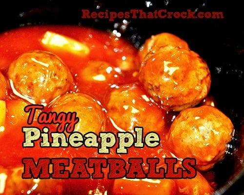 Tangy Pineapple Meatballs #Crockpot #SlowCooker