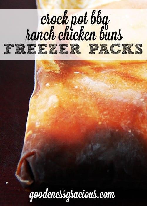 Crock Pot BBQ Ranch Chicken Buns Freezer Pack