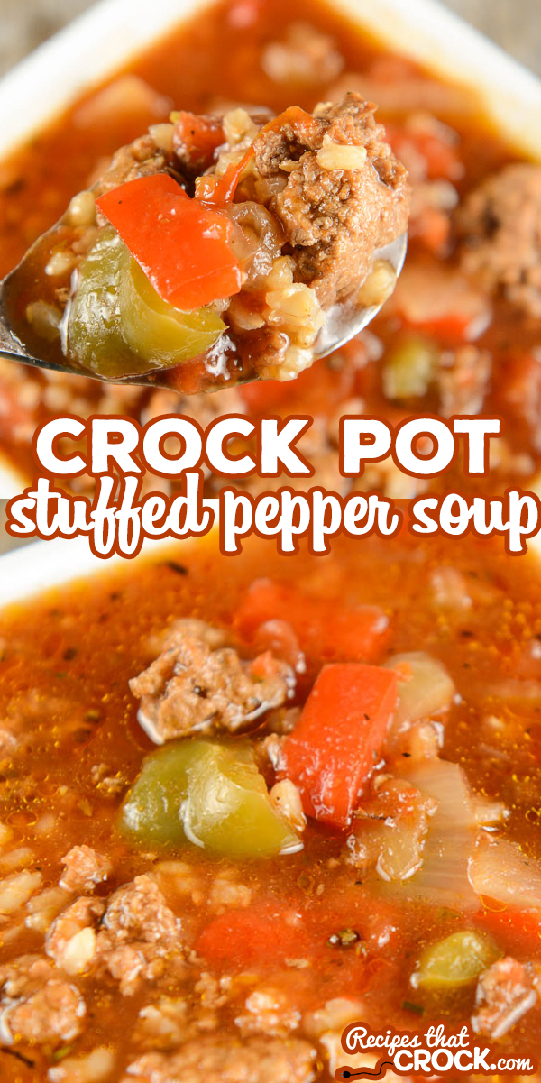 This Crock Pot Stuffed Pepper Soup is a reader favorite and one of our most popular slow cooker recipes! Savory ground beef, sweet bell peppers and rice in a flavorful tomato broth. Yum! All the flavor of stuffed peppers with none of the work! via @recipescrock