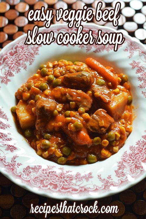 Easy Veggie Beef Slow Cooker Soup: One can never have too many great crock pot soup recipes on hand if you ask me and this Easy Veggie Beef Slow Cooker Soup is one we'd definitely recommend.