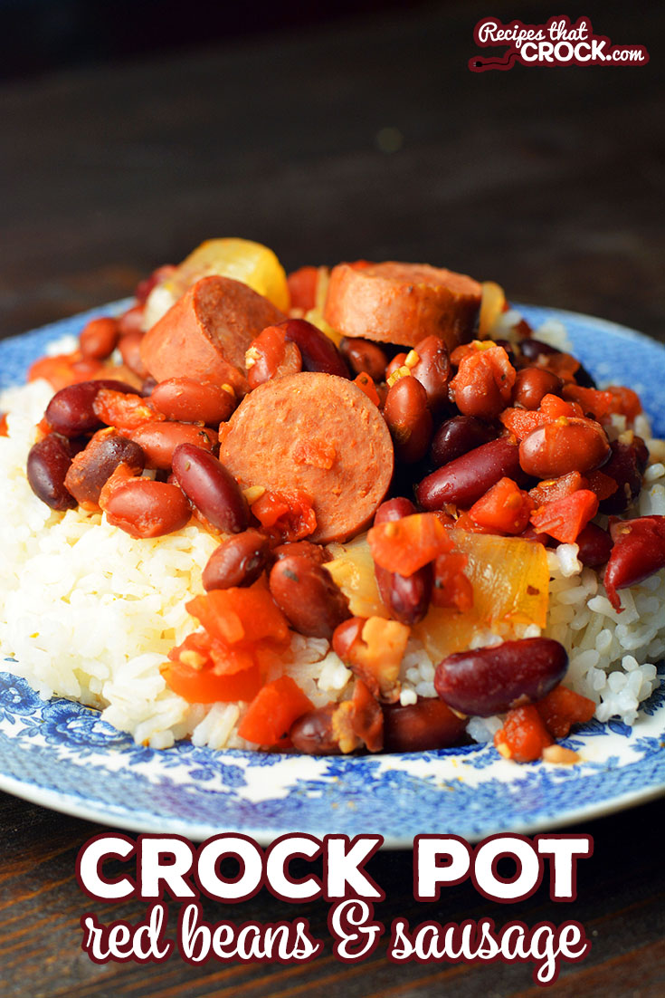 Does someone in you family just love red beans and rice? This Slow Cooker Red Beans and Sausage is a great recipe to serve over rice. via @recipescrock