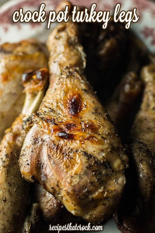Crock Pot Turkey Legs are a great option for budget friendly holiday meals or weeknight dinners.  The brine brings out all those holiday flavors in these legs for a fraction of the cost