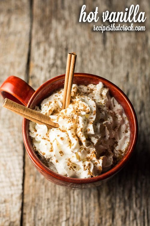 Hot Vanilla - Delicious warm beverage recipe for the crock pot! Great alternative to hot chocolate or addition to a hot beverage bar!