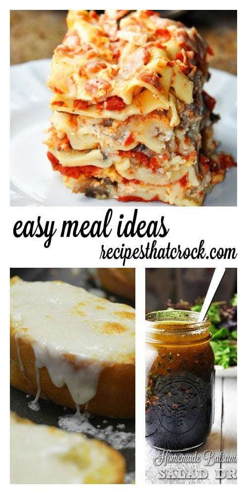 Easy Crock Pot Meal Ideas: We love this combo of Easy Crock Pot Lasagna, Cheesy Garlic Bread and simple salad with Homemade Balsamic Vinaigrette Salad Dressing.