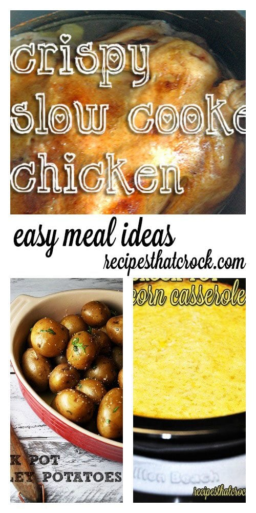 Easy Crock Pot Meal Ideas: This simple but delicious Crispy Slow Cooker Chicken is worthy of a Sunday supper table. Paired with Crock Pot Parsley Potatoes and Crock Pot Corn Casserole, this meal will have everyone sticking around the dinner table for seconds.