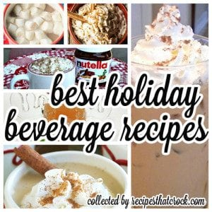 The BEST holiday beverage recipes from some of my favorite bloggers! Eggnog Lattes, Protein Coffee, Hot Chocolate Recipes, Pumpkin Lattes, Jolly Juice, Apple Ciders and more! Great warm crock pot recipes and chilled holiday beverage options.