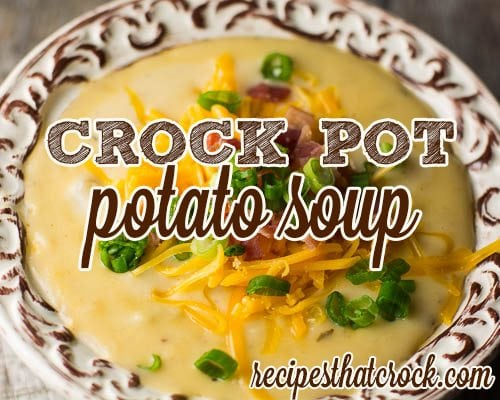 This savory crock pot potato soup recipe is the perfect loaded potato soup. We tested a lot of potato soup recipes and THIS one is the one that won by a landslide. Comfort in a bowl.