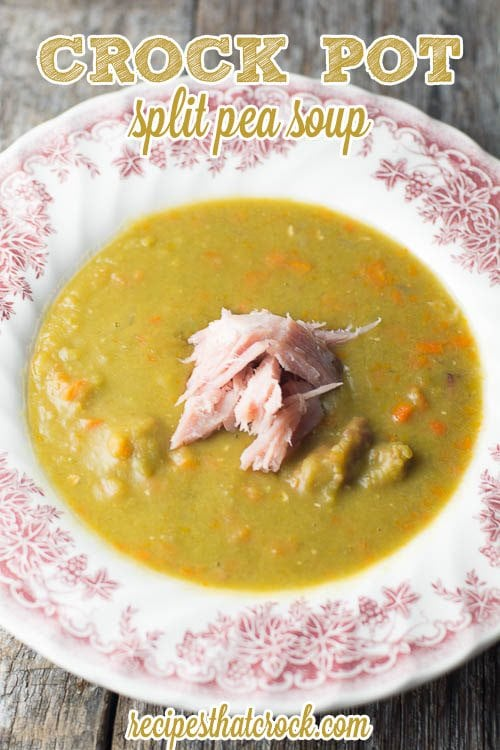 Crockpot Split Pea Soup: The classic homemade soup that grandma used to make. This old fashioned soup is the perfect leftover ham recipe.