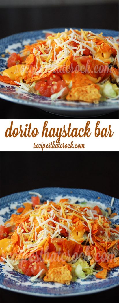 Dorito Haystacks are a delicious spin on a salad bar. Rice, saltines, cheese sauce and ground beef along with all the fixings make for a great meal that everyone can customize to their own taste.