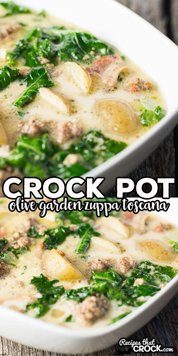 Crock Pot Olive Garden Zuppa Toscana Soup Copy Cat. Savory sausage, potatoes and kale in a creamy broth soup. via @recipescrock