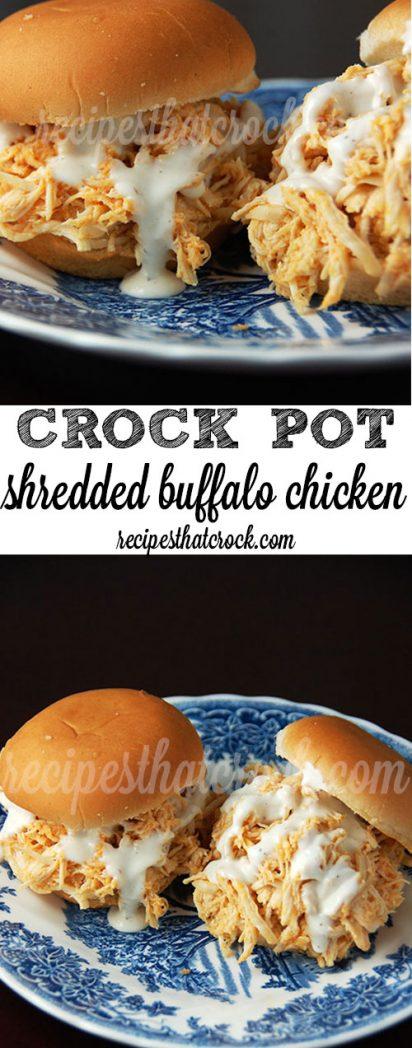 Crock Pot Shredded Buffalo Chicken Sliders