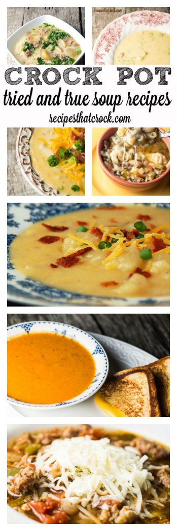 Tried and True Soup Crock Pot Recipes - TONS of our family's favorite slow cooker soups, including: Potato Soups, Tomato Soup, Copycat Soups, Pizza Soup.