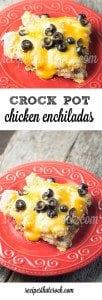 Crock Pot Chicken Enchiladas - A family favorite! Easy crock pot recipe for a Mexican inspired casserole.