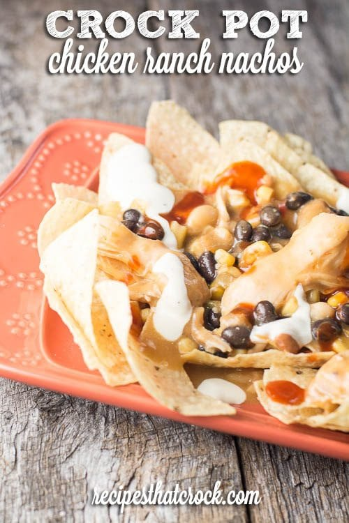 Crock Pot Chicken Ranch Nachos: Our FAVORITE recipe! Incredible flavor and so easy to make!
