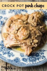 Easy Crock Pot Recipe for Pork Chops. Great weeknight dinner to throw together.