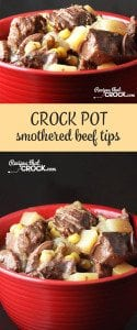 These Smothered Crock Beef Tips are the perfect hearty meal!