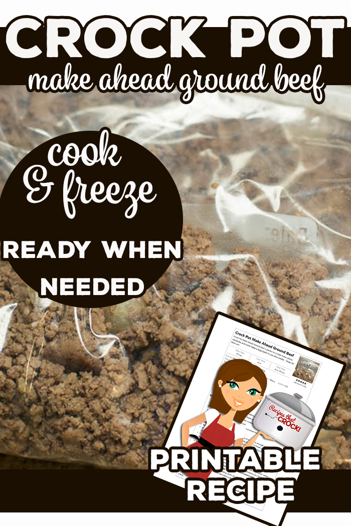 Check out this recipe for how to make a large batch of ground beef in your slow cooker and freeze for later use! Our Crock Pot Make Ahead Ground Beef is perfect for everything from tacos to pizza to casseroles and makes dinner prep super easy in the evenings! via @recipescrock