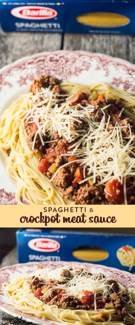 Spaghetti with Crock Pot Meat Sauce: Barilla® Spaghetti with {Crock ...