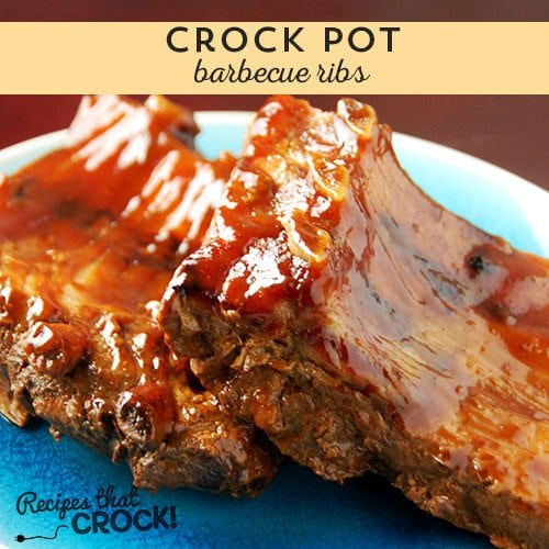 Delicious Crock Pot Barbecue Ribs you can throw together in less than five minutes!