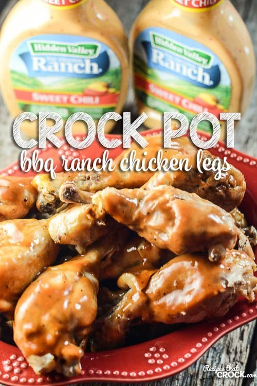 Crock Pot BBQ Ranch Chicken Legs: This is the perfect recipe to feed a crowd! The chicken is fall apart tender and so flavorful! The tangy flavors of barbecue sauce pair perfectly with the creamy ranch with a hint of sweet chili. #ad #FavRanchFlav