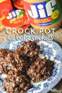 Crock Pot No Bake Cookies: Are you looking for a fool-proof no bake cookie recipe but you are tired of standing at the stove stirring the pot? Our Crock Pot No Bake Cookies are also stir free! Throw the ingredients in as directed, and let your slow cooker do the prep! Then scoop out your cookies like usual and you have the perfect on-the-go sweet treat all summer long!