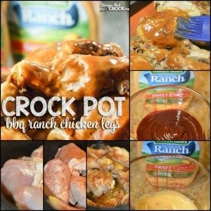 Crock Pot BBQ Ranch Chicken Legs: This is the perfect recipe to feed a crowd! The chicken is fall apart tender and so flavorful! The tangy flavors of barbecue sauce pair perfectly with the creamy ranch with a hint of sweet chili. #ad