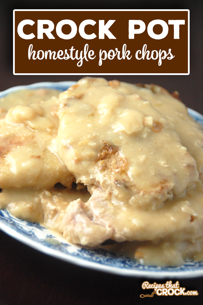 If you love pork chops with gravy, you have to try these Crock Pot Homestyle Pork Chops. Yum! via @recipescrock