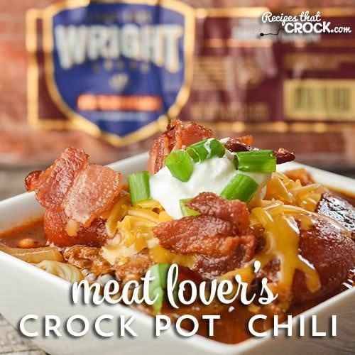 Meat Lover's Crock Pot Chili is perfect for any meat lover. 3 different meats slow cook together to create a wonderful flavor that is unlike any other! #ad #boldbacon