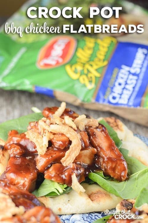 Crock Pot BBQ Flatbreads: Are you looking for a recipe that is quick and delicious? Our BBQ Chicken Flatbreads are so flavorful you won't believe how easy they are to throw together! #Ad #WMTProjectAPlus @TysonFoods