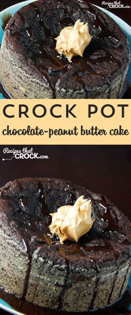 Satisfy your chocolate and peanut butter cravings with this delicious Chocolate-Peanut Butter Cake for your crock pot!