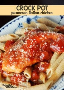 Your taste buds will do a happy dance when you taste this Parmesan Crock Pot Italian Chicken!