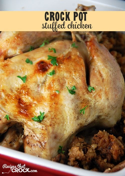 This Stuffed Crock Pot Chicken is tender, juicy and oh-so flavorful!