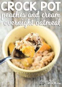 Overnight Peaches and Cream Oatmeal in the Crock Pot- This dish cooks for a full 8 hours without burning. It is a great overnight recipe and a perfect way to have a hot breakfast in the morning without the work. Leftovers keep well in the fridge, so be prepared for your family to fight over it all week long!