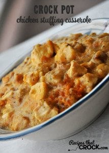 This Crock Pot Chicken Stuffing Casserole is a classic family favorite!