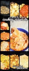 Meaty Crock Pot Cowboy Casserole is a hearty slow cooker meal that everyone loves!