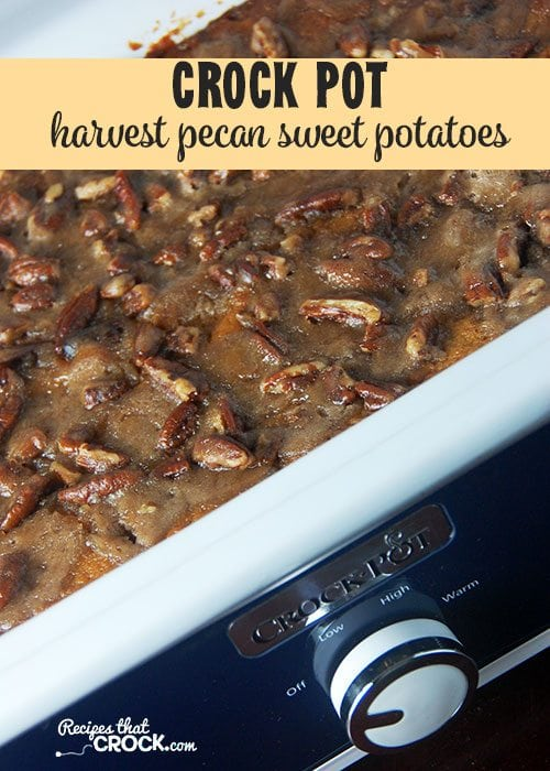 This Crock Pot Harvest Pecan Sweet Potatoes recipe is a great way to enjoy a classic favorite from your crock pot!