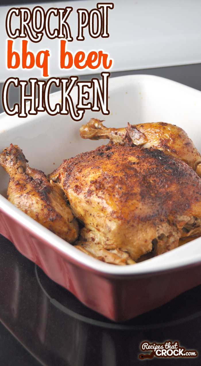 Crock Pot BBQ Beer Chicken is an easy slow cooker meal that produces a juicy, flavorful chicken. Great economical way to feed the family!