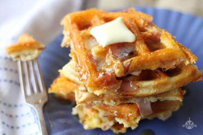 Ham-and-Cheese-Waffles