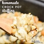 Homemade Crock Pot Stuffing- An easy way to free up your oven and use your slow cooker to make stuffing from scratch. This super easy recipe uses soft bread, not drying out required.