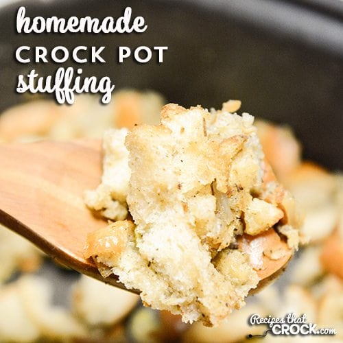Homemade Crock Pot Stuffing- An easy way to free up your oven and use your slow cooker to make stuffing from scratch. This super easy recipe uses soft bread, no drying out required.