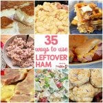 35 Ways to Use Leftover Ham! Great Leftover Ham Recipes like Ham and Beans, Cheesy Scalloped Ham and Potatoes, Ham Fried Rice, Ham Salad, Ham Waffles, Pasta Salad, Casseroles and more!
