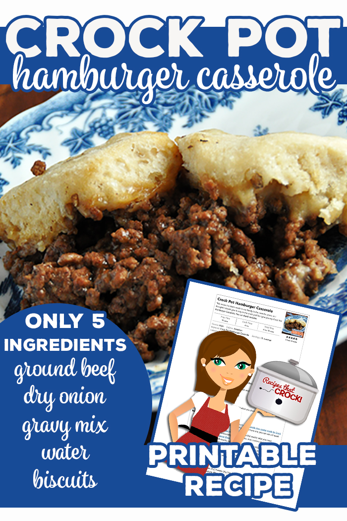 This recipe has been made in our family in the oven for years, so I thought I should give it a try in the crock pot! So I give you my Crock Pot Hamburger Casserole. You can thank me later. ;) Ground Beef, Dry Onion, Gravy Mix, Water and Biscuits make this tried and true recipe. via @recipescrock