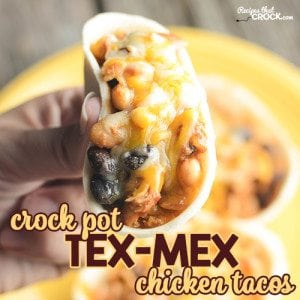 Our Crock Pot Tex Mex Chicken Tacos are super simple to throw together and amazing good! Everyone will ask you for this recipe!