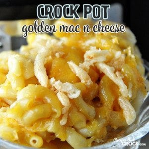 This Crock Pot Golden Mac n Cheese tastes like a baked mac n cheese with a little something extra!