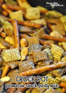Check out this oh-my-goodness-good Crock Pot Parmesan Ranch Party Mix! It is amazing!