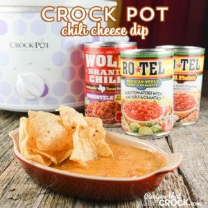 Crock Pot Chili Cheese Dip is so easy to throw together and the perfect dip for your next party whether it be at a potluck or staying in during #HibernationSeason! #ad @conagrafoods @roteltomatoes