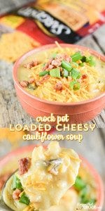 Our Crock Pot Loaded Cheesy Cauliflower Soup is comfort in a bowl. If you are looking for a new soup to cook up in your slow cooker, THIS is the recipe for you. #Ad @sargentocheese