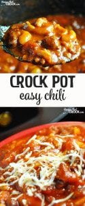 This Easy Crock Pot Chili is a delicious way to fill up and warm up on a cold day!